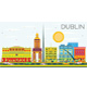 Dublin Skyline with Color Buildings and Blue Sky - GraphicRiver Item for Sale