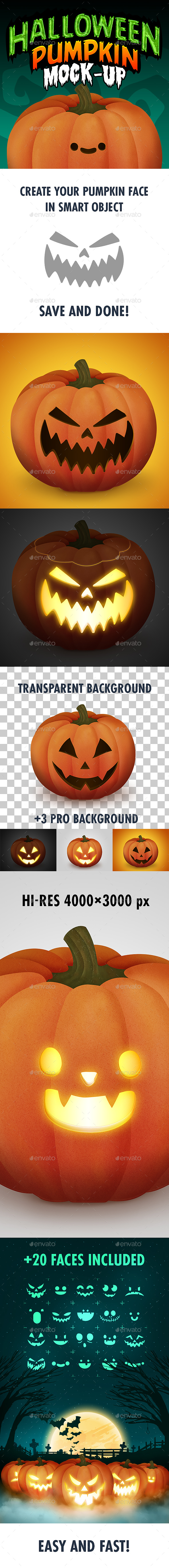 Halloween Pumpkin Face Mock-Up - Product Mock-Ups Graphics