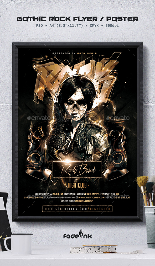 Gothic Rock Flyer Poster Template By Fadeink Graphicriver