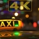 Illuminated Sign Of Taxi Cab In Night City - VideoHive Item for Sale