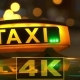 Illuminated Sign Of Taxi Cab In Night City  Blurred - VideoHive Item for Sale