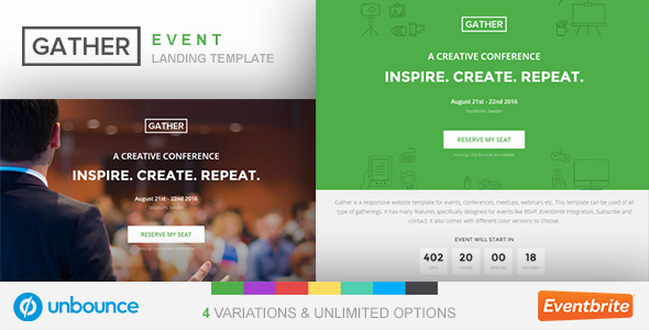Unbounce Event Landing Page Template – Gather