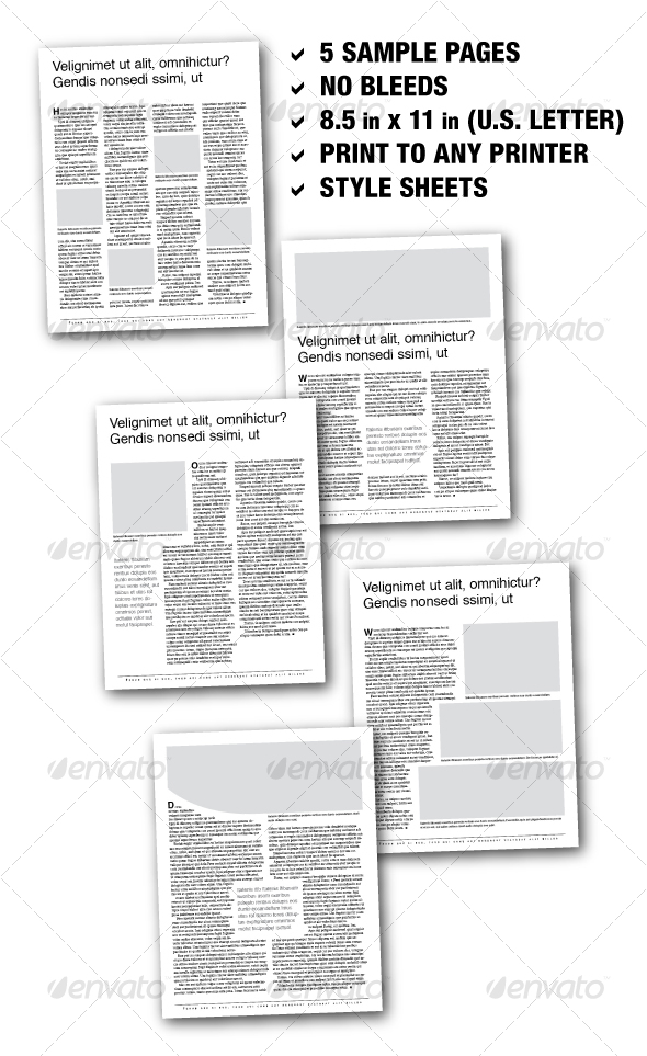 U.S. Letter Editorial Samplers 01 (5 pages) - Newsletters Print Templates