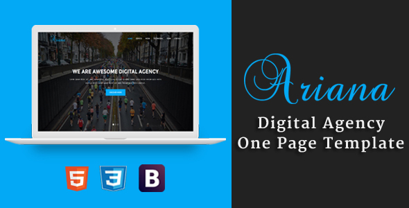 Ariana - Digital Agency One Page Template - Technology Site Templates