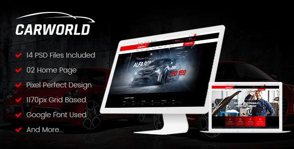 CarWorld - Car Dealer & Auo Repair PSD Template - PSD Templates