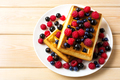 Soft waffle with fresh blueberry and raspberry top view - PhotoDune Item for Sale