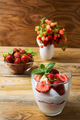 Strawberry with cream cheese on rustic wooden background - PhotoDune Item for Sale