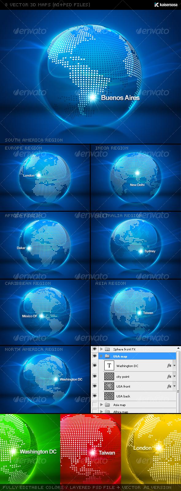 8 Vector 3D Maps (AI+PSD Files) - Web Elements