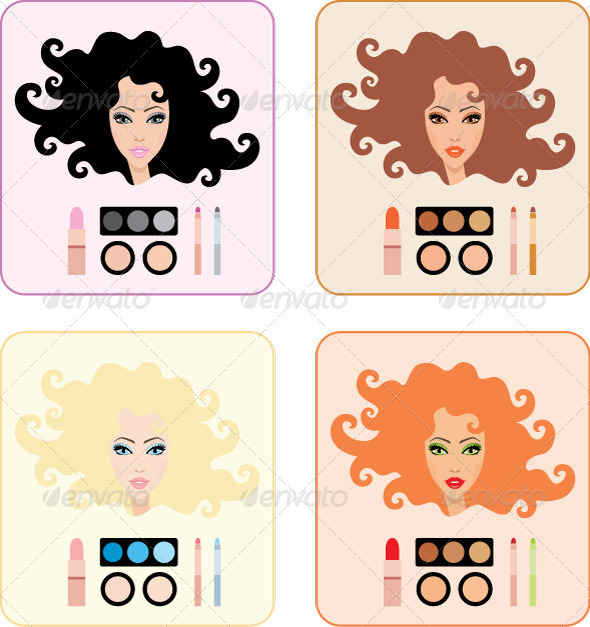Make-up for Women with a Different Hair Color - Conceptual Vectors