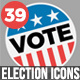 39 Flat USA Election Icons - VideoHive Item for Sale
