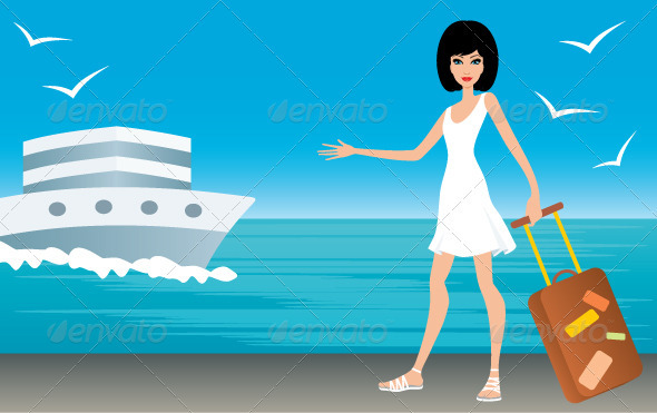 Woman with a Suitcase on Landing Stage - Travel Conceptual