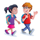 School Kids Walking with Backpacks - GraphicRiver Item for Sale