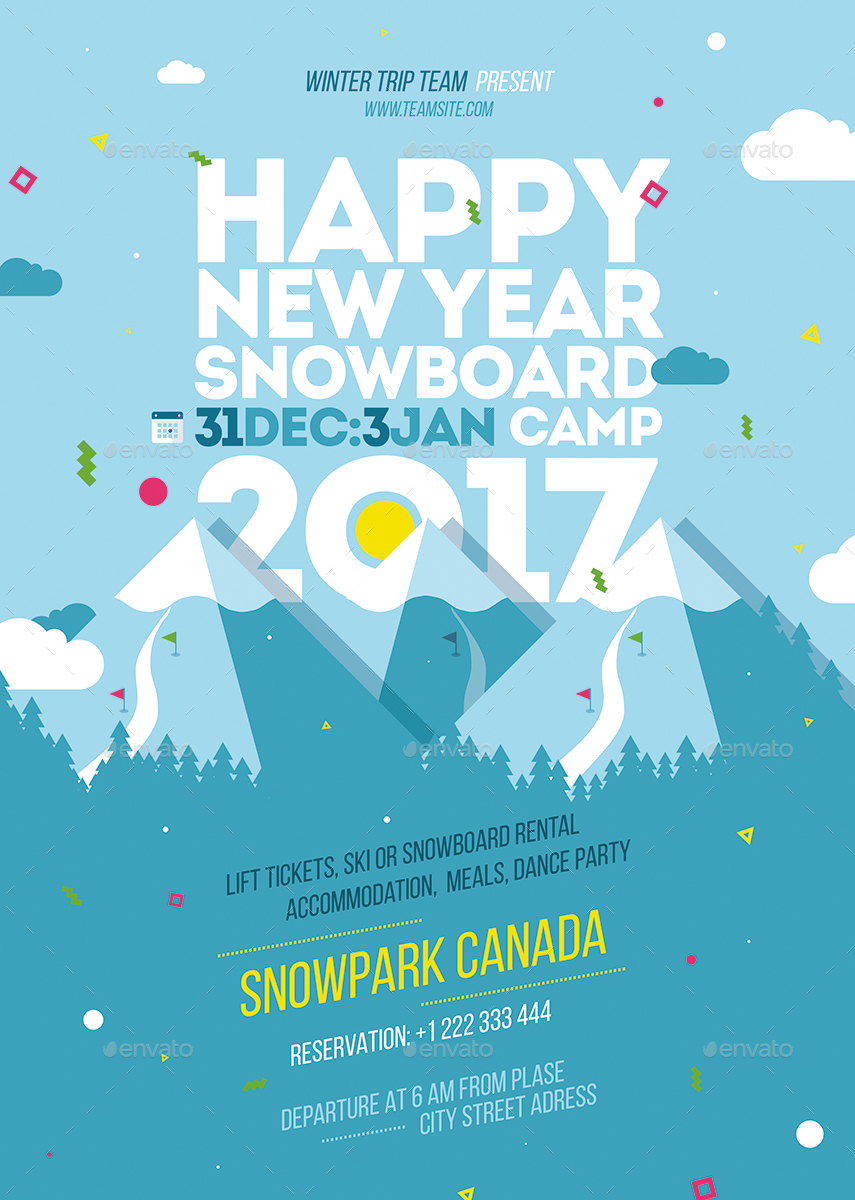 snowboard camp poster template by fondrakes