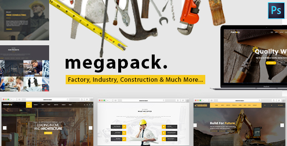 Mega Pack – Factory, Industry & Construction PSD Template