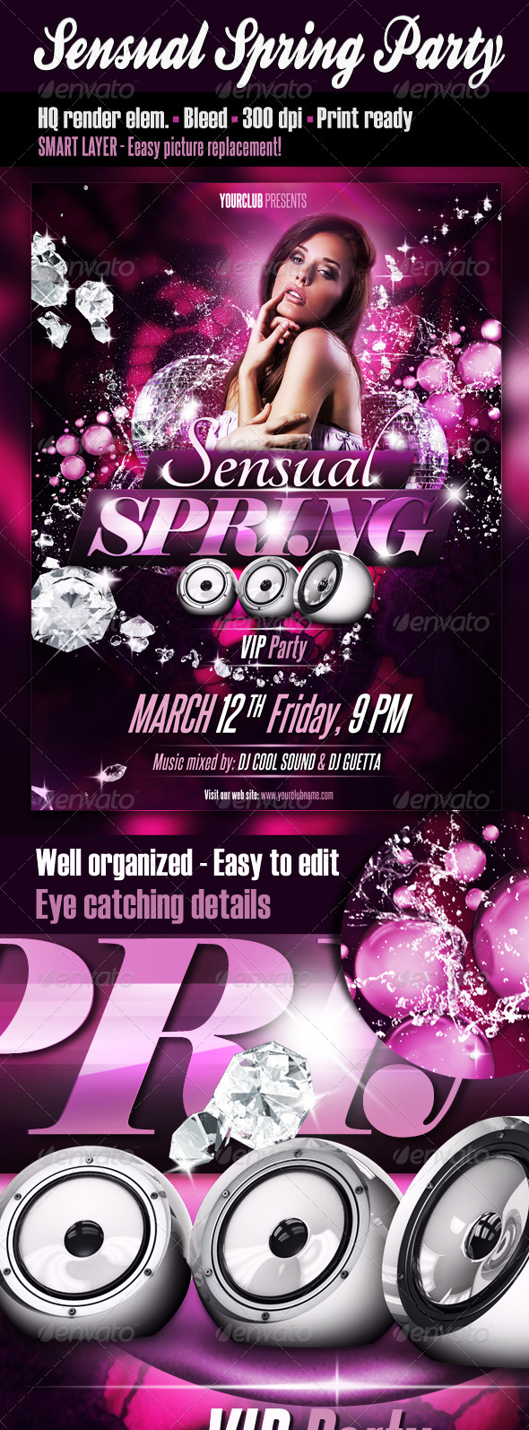 Sensual Spring Party Flyer - Clubs & Parties Events