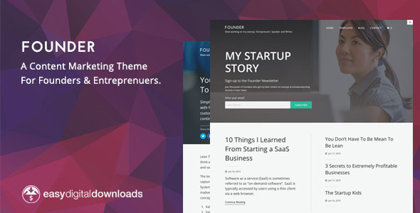 Founder - A Content Marketing WordPress Theme - Personal Blog / Magazine