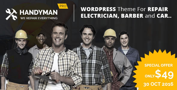 Electrician, Repair, Barber, Carpenter  –  Theme for Electrician, Barber, Carpenter, Repair Busines