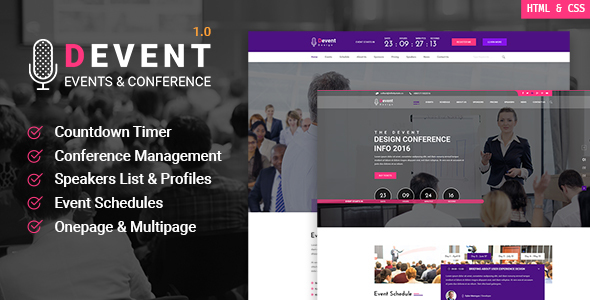 Devent – Event & Conference Site Template with Onepage & Multipage Feature