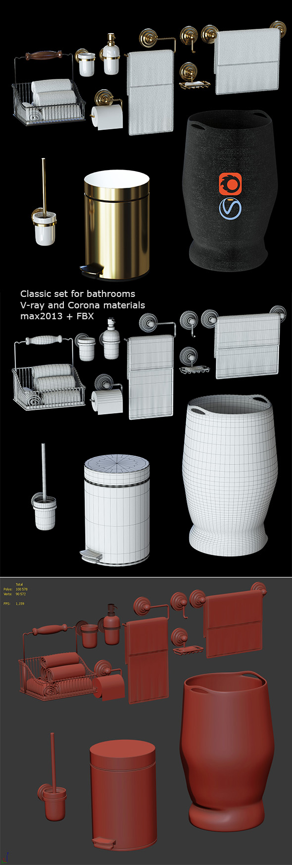 Classic set for bathrooms - 3DOcean Item for Sale