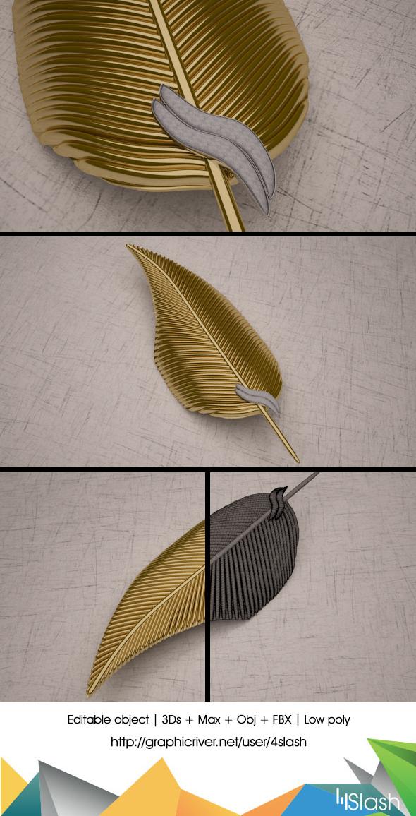 3d Gold Leaf - 3DOcean Item for Sale