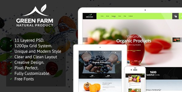 Green Farm – PSD Template - Food Retail