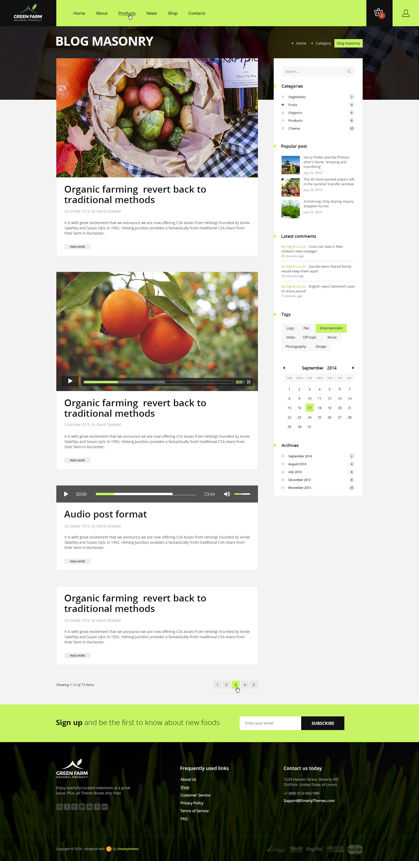 Green Farm Psd Template By Smarty Themes Themeforest