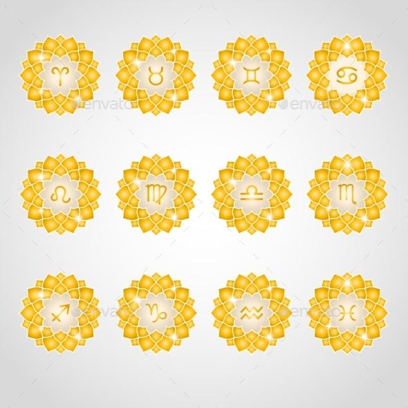Zodiac Signs Icons - Decorative Symbols Decorative