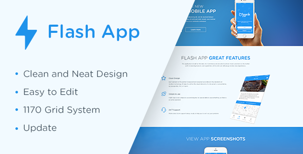 Flash App Landing Page - Technology PSD Templates
