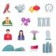Singapour Culture Flat Icons Set