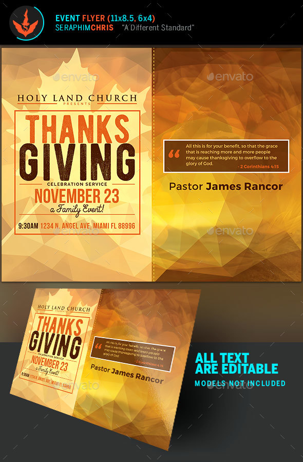 Thanksgiving Service Fall Flyer Template   Church Flyers