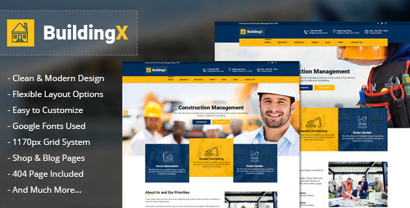 BuildingX – Builder, Contractor, Contruction WordPress Theme