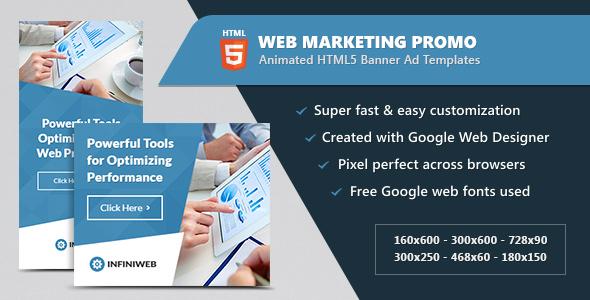 Animated HTML5 Web Marketing Promo Banners Ads