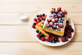 Belgian waffles with blueberry, raspberry and ising sugar - PhotoDune Item for Sale