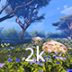 Green Meadow With Blue Flowers - VideoHive Item for Sale