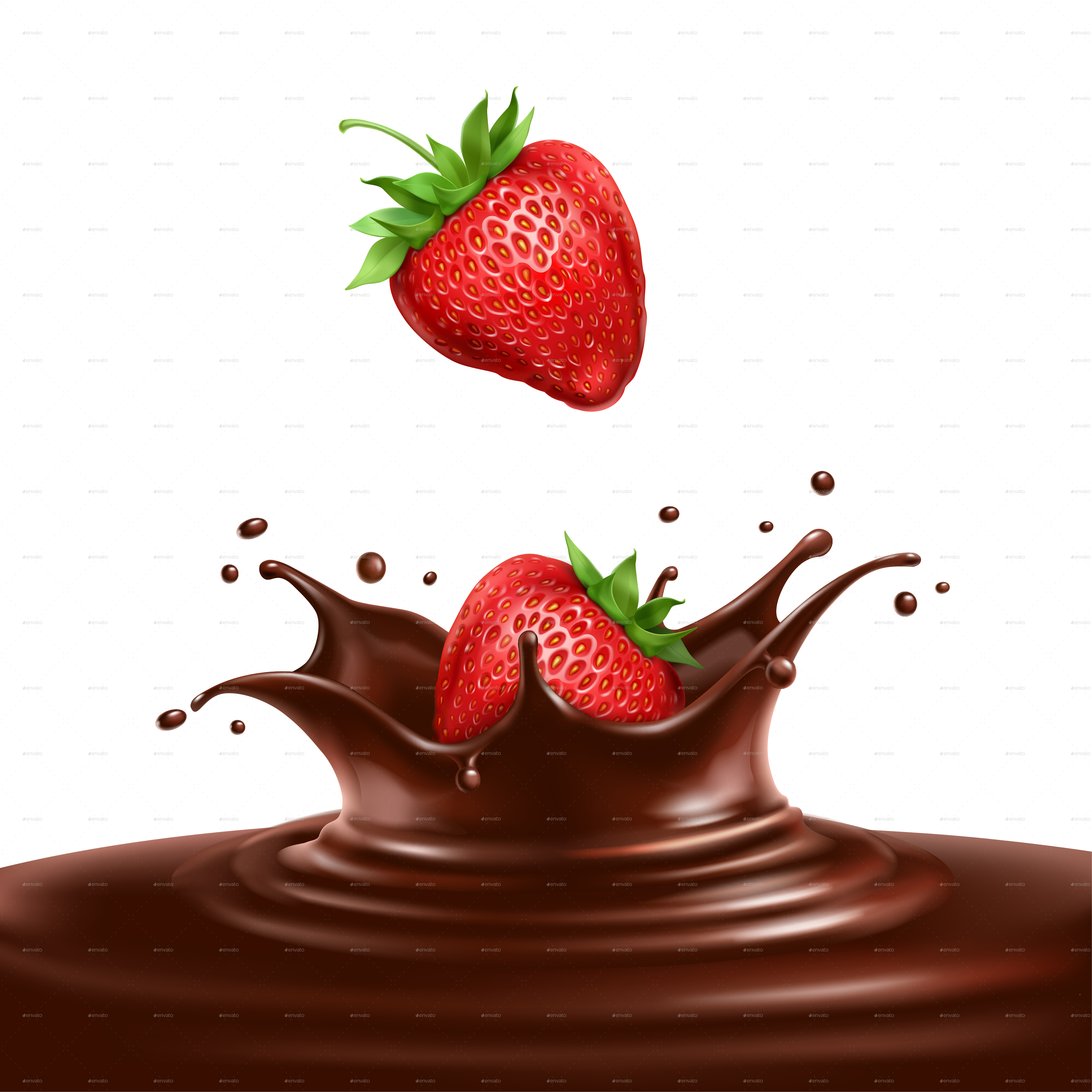 Strawberries Dipped in Chocolate by Mia_V | GraphicRiver