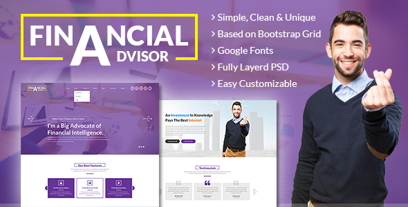 Financial Adviser – Consulting Business, Finance PSD Template