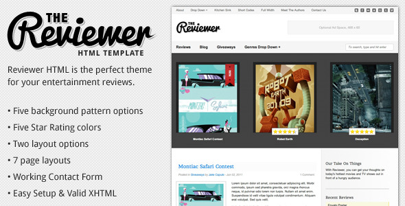Free Download Reviewer - HTML Template for Entertainment Reviews Nulled Latest Version