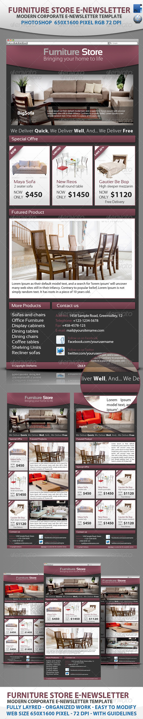 Professional Furniture Store E-newsletter template by BaGeRa ...