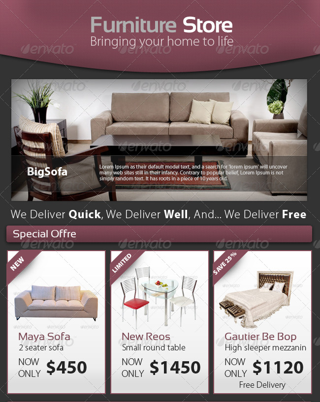 Professional Furniture Store E Newsletter Template By