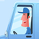 Man Driving Service Van. - GraphicRiver Item for Sale