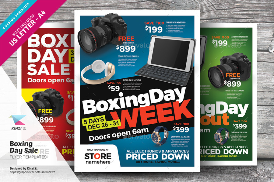 Boxing Day Sale Flyer Templates By Kinzi GraphicRiver - Electronic flyers templates