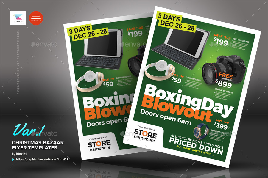 Boxing Day Sale Flyer Templates By Kinzi GraphicRiver - Buy flyer templates
