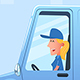 Woman Driving Service Van - GraphicRiver Item for Sale