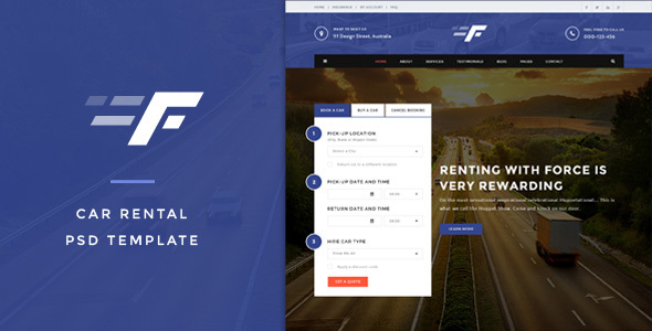 Force – Car Rental PSD Template