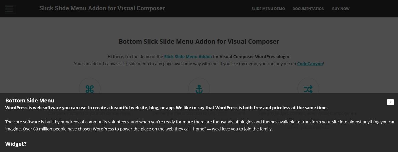 Slick Slide Menu Addon for WPBakery Page Builder (formerly Visual Composer)