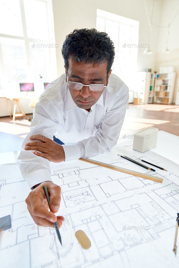 Working with blueprint - Stock Photo - Images