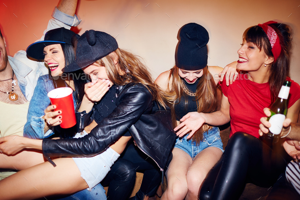 Raging Fun at Late Night Party - Stock Photo - Images