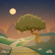 Night Cartoon Landscape - GraphicRiver Item for Sale