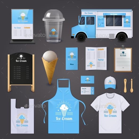 Ice Cream Corporate Identity Icons Set