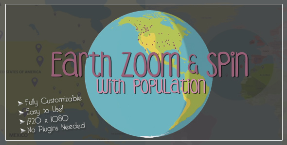 earth zoom and spin with population templateemerywheel | videohive, Powerpoint templates